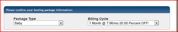 Host Gator Package Selection and Billing Cycle